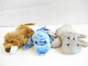 Lot of 3 Caltoy Hand Puppets Lion Hippo Dolphin Plush Toy