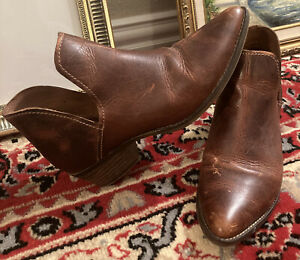 Stave Madden Austin Brown Leather Ankle Booties Pull-On Pointed Toe Size 8