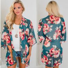 Semi Sheer Beach Floral Shawl Kimono Jacket Cardigan Tops Party Chiffon Blouse