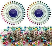 120 Pearlized Bead Pins Rosette Hijab Craft Dress Maker Sewing Scarf Needlework