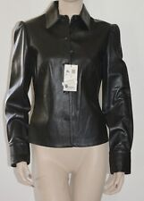 BURBERRY LONDON LEATHER JACKET SHIRT SZ US 8 EU 42 NEW WOMENS