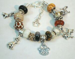 Chihuahua's Charm European style charm bracelet Murano beads paws crystals tan