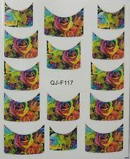 Accessoire ongles : nail art - Stickers décalcomanie - motifs roses multicolores