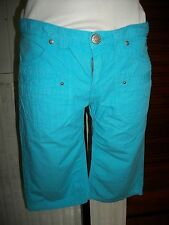 Bermuda pantacourt short taille basse RWD W27 36/38 coton turquoise 16ET19
