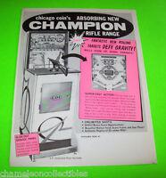 CHAMPION RIFLE RANGE By CHICAGO COIN 1962 ORIGINAL NOS GUN PINBALL MACHINE FLYER