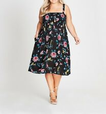 Plus Size Autograph Black Floral Shirred Cheesecloth Viscose Midi Dress Size 14
