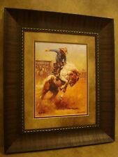 "ANDY THOMAS FRAMED ""DUSTY BRONC"" OPEN EDITION PRINT **RODEO COWBOY & HORSE**"