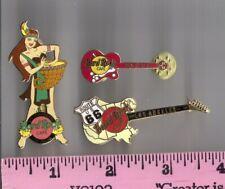 Lot of 3 Hard Rock pins > LE LaJolla Thanksgiving Maiden, Seoul mini-guitar & LA