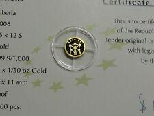 BELGIUM ATOMIUM 2008 LIBERIA $12 MINI .62 GRAM 999 GOLD COIN VERY RARE COOL ITEM