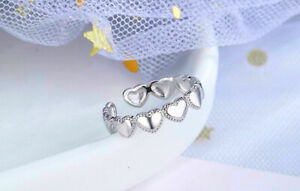 Linked Heart Adjustable Ring 925 Sterling Silver Womens Girls Jewellery Gift UK