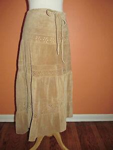 Margaret Godfrey Size 10 Western Cowgirl Suede Leather Camel Prairie Skirt