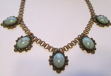 1940s Karu Fifth Avenue Brass Filigree, Book Chain Turquoise Glass Necklace!