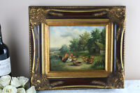 Flemish school oil panel chicken painting 1950's signed