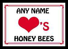 Love Heart Honey Bees Personalised Mousemat