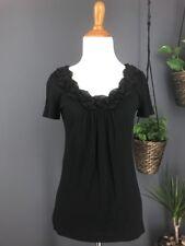 LOFT Top XS Black Ruffle Collar T Shirt Knit ANN TAYLOR
