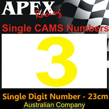 CAMS Window Number 3 Sticker - Single Number 23cm - Race Rally - Dayglo Yellow