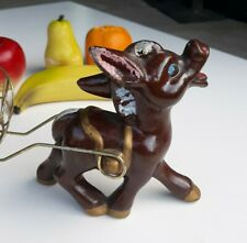 Vintage Tilso Japan Ceramic Donkey With Wire Cart and Fruit