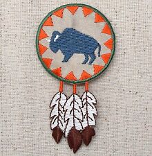Iron On Embroidered Applique Patch Southwest Indian Buffalo Bison Round Feathers
