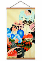 Aguiar Surreal Apple Sellers Painting Women Pattern Canvas Wall Art Print Poster