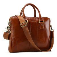 """Men Leather 14"""" Laptop Business Office Briefcase Messenger Shoulder Bag Handbag"""