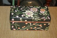 Chinese Porcelain Lidded Trinket Storage Box Colorful Painted Flowers Signed