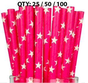 Paper Straws Pink White Stars Paper Drinking Straws Birthday 25 50 100