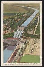 1930s POSTCARD COLUMBUS NE LOUP RIVER HYDRO POWER PLANT BIRDS EYE AERIAL VIEW
