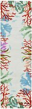 """RUNNERS - CATALINA HAND HOOKED CORAL REEF BORDER RUG - IVORY - 24"""" x 90"""" RUNNER"""