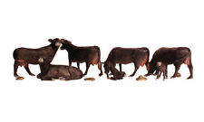 7 Black Angus Cows By Woodland Scenics - Ho-Scale-Detailed W/Plops And All!