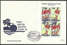 TONGA 1995 RUGBY WORLD CUP Sheet of 4 - $2 Pairs - FIRST DAY COVER