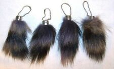 2 REAL RACCOON TAIL KEY CHAINS SMALL wild country animals raccoons keychain 039