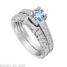 1.14 CT AQUAMARINE & DIAMOND ENGAGEMENT RING & WEDDING BAND SETS 14K WHITE GOLD