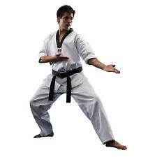 Taekwondo Uniform TKD V-Neck Gi Lightweight Black Collar Dobok w/ Belt  - White