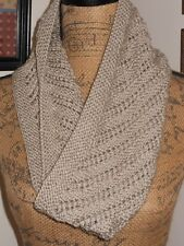 HAND KNITTED GORGEOUS SUPER SOFT DIAGONAL PATTERN LACE KNIT GRAY BEIGE COWL