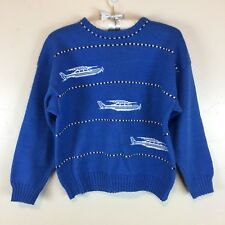 Vintage Blue Wool Blend Airplane Sweater / Youth Boys Size XL