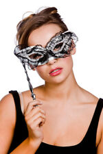 Adult Lace Eyemask Black & Silver With Handle Outfit Fancy Dress Masquerade Ball