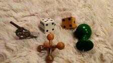 Lot 5 Vintage GAME PIECES dice jack metal cannon wood