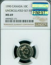 1990 CANADA 10 CENTS NGC MS-69 PQ MAC FINEST GRADE MAC SPOTLESS .