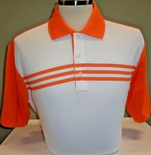 NEW ADIDAS COLORBLOCK 3-STRIPE S/S POLO GOLF SHIRT, WHITE/SUNSET, PICK SIZE, $80