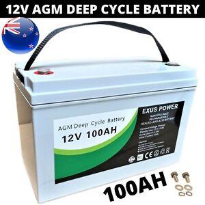 100Ah AGM Deep Cycle Battery 12V SLA Fridge Solar Power Camping Marine Sealed