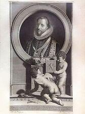 GIACOMO I Stuart RE INGHILTERRA Ritratto PIA GUNST Werff Acquaforte XVIII secolo