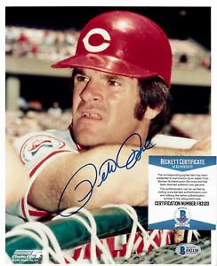 Autographed Cincinnati Reds Baseball ~ Pete Rose ~ Signed 8x10 Photo Beckett COA