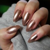 20x Hand Painted Champagne Rose Gold Glitter Stiletto False Nails
