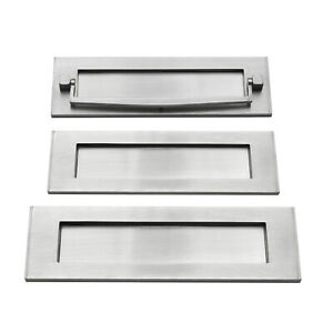 Victorian Heavy Sprung Solid Brass Letter Box Postal Plate Covers - Satin Chrome
