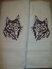 Maine Coon Cat Silhouette Set Of 2 Hand Towels Embroidered New Cute