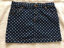 Girls Jean Skirt With White Polka Dots Sz 16 Adjustable Waist Faded Glory New