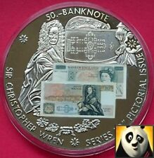 LARGE 50mm £50 FIFTY POUND BRITISH BANKNOTE STICKER MEDAL COIN CHRISTOPHER WREN