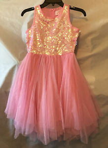 Justice Pink Dress. Sequins & Tulle. Multi Layer Bottom. Size 10. NWT.