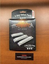 FREE SHIPPING Hohner 3P572BX Hot Metal 3 Harmonica Value Pack, Keys C, G, A