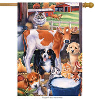 """Animals in the Barn Spring House Flag Cats Dogs Cows Horse 28"""" x 40"""""""